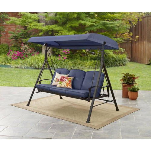 Porch Swings With Canopy Throughout Well Known Patio Swing W/ Canopy 3 Person Outdoor Garden Furniture (View 3 of 20)