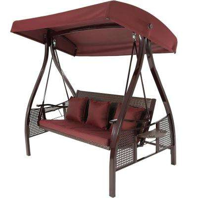 Porch Swings With Canopy With Regard To Trendy Deluxe Steel Frame Porch Swing With Maroon Cushion, Canopy And Side Tables (Gallery 11 of 20)