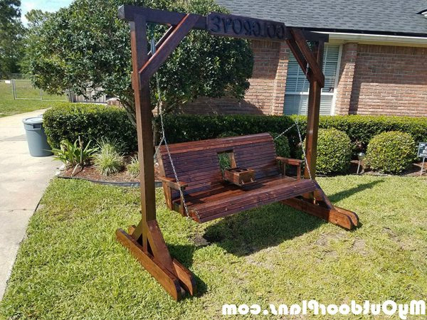 Porch Swings With Stand Regarding 2019 Diy Porch Swing With Center Console And Stand (View 18 of 20)