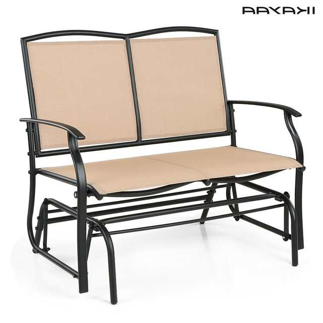 Preferred 2 Person Loveseat Chair Patio Porch Swings With Rocker With Regard To Ikayaa 2 Person Patio Swing Glider Bench Chair Loveseat (View 15 of 20)