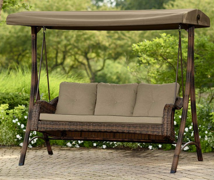 Preferred 3 Person Red With Brown Powder Coated Frame Steel Outdoor Swings Regarding Palermo All Weather Wicker 3 Person Swing At Big Lots (View 20 of 20)