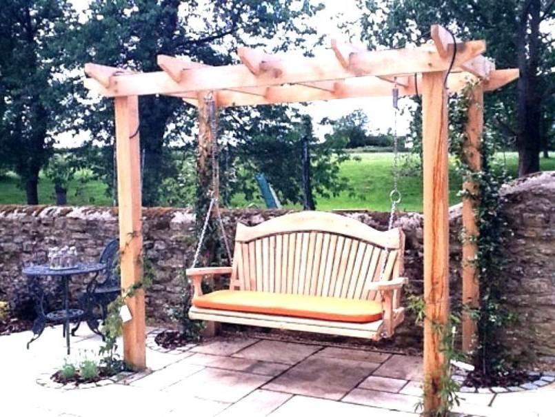 Preferred 3 Seat Pergola Swings With Decorating One Seat Porch Swing One Person Patio Swing (View 2 of 20)