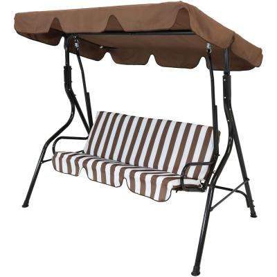 Preferred Casual Thames Black Wood Porch Swings For 3 Person Black Steel Porch Swing With Brown Striped Cushions (Gallery 19 of 20)