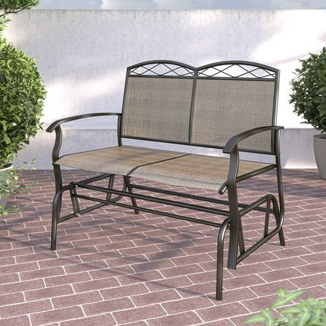 Preferred Corliving Double Glider Speckled Brown Chair With Metal Powder Coat Double Seat Glider Benches (Gallery 2 of 20)