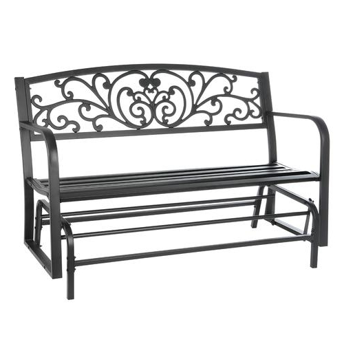 Preferred Low Back Glider Benches In Backyard Creations® Steel Scroll Glider Bench At Menards® (View 8 of 20)