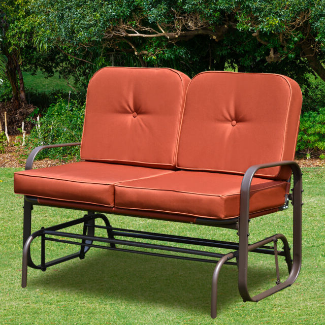 Preferred Patio Glider Bench Chair 2 Person Rocker Loveseat Outdoor Furniture W/ Cushions Intended For Loveseat Glider Benches With Cushions (View 5 of 20)