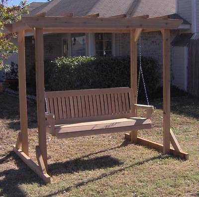 Preferred Porch Swings With Stand Throughout New All Cedar Garden Arbor & 5 Foot Porch Swing Stand Heavy Duty Chain & Springs (View 15 of 20)