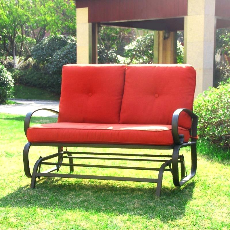 Preferred Rocking Glider Benches With Cushions In Patio Loveseat Glider – Sigpot (View 17 of 20)