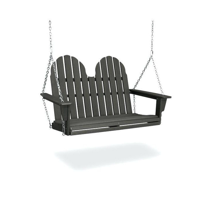 Preferred Vineyard 2 Person Black Recycled Plastic Outdoor Swings With Polywood Porch Swing – Founderware.co (Gallery 12 of 20)