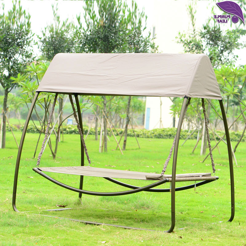 Purpleleaf Patio Leisure Garden Swing Chair Outdoor Sleeping Pertaining To Most Current Garden Leisure Outdoor Hammock Patio Canopy Rocking Chairs (View 19 of 20)