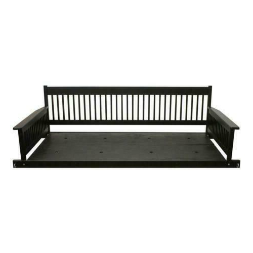 Recent 2 Person Black Wood Outdoor Swings Regarding 2 Person Daybed Wooden Porch Patio Swing Hanging Seat (View 2 of 20)