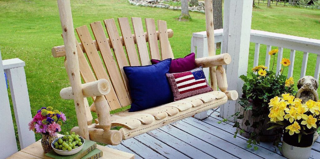 Recent 2 Person Natural Cedar Wood Outdoor Swings For Review: 3 Best Two Person Porch Swings Proudly Made In The Usa (View 17 of 20)