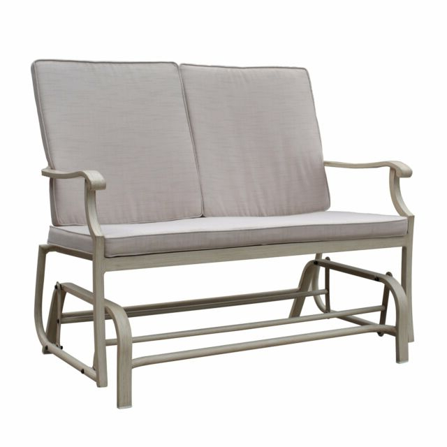 Recent Aluminum Glider Benches With Cushion In Havenside Home Kwilillingok Aluminum Outdoor Double Glider Beige, Camel Single (View 13 of 20)