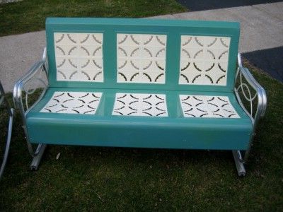 Recent Aluminum Glider Benches With Cushion With Vintage Retro Patio Furniture 195039s Aluminum Metal Glider (View 14 of 20)