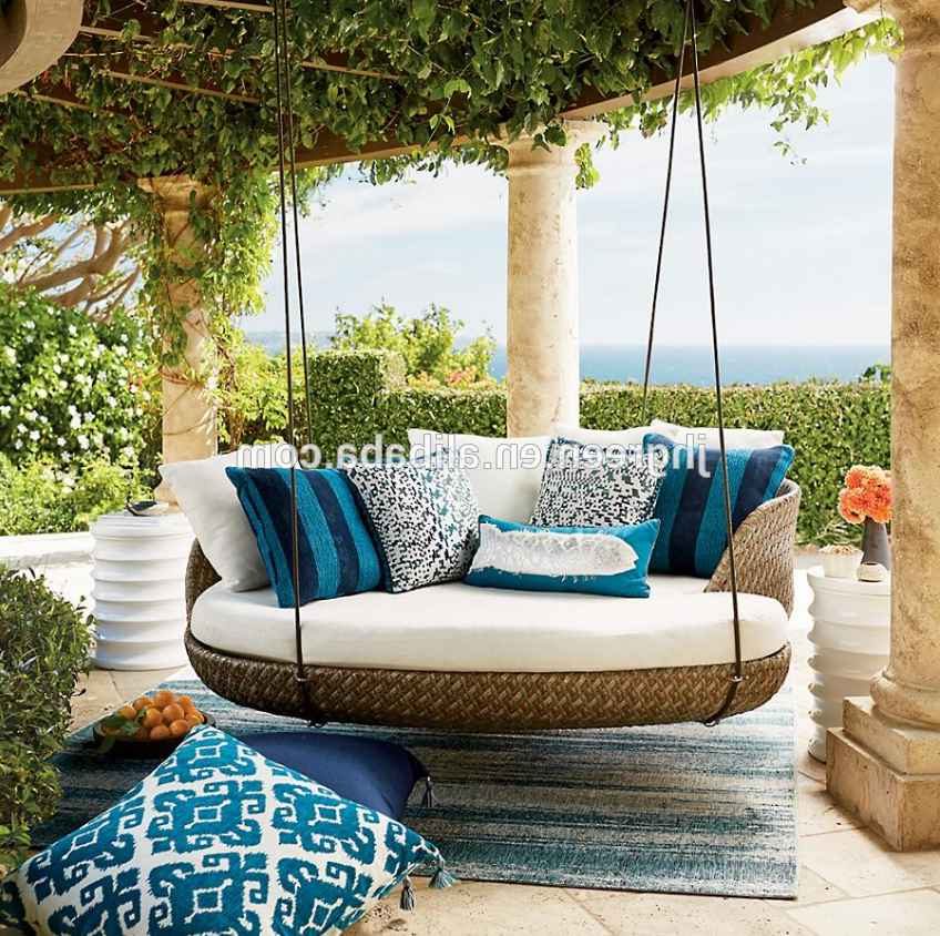 Recent Country Style Hanging Daybed Swings With Regard To Pretty Green Style Outdoor Rattan Garden Hanging Daybed (View 16 of 20)