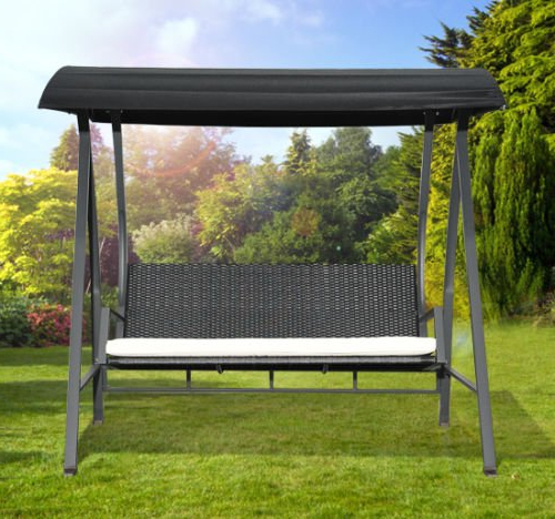 Recent Rattan Garden Swing Chairs Pertaining To Outsunny 3 Seater Garden Rattan Swing Wing Hammock Chair Black — Mh Star (View 6 of 20)