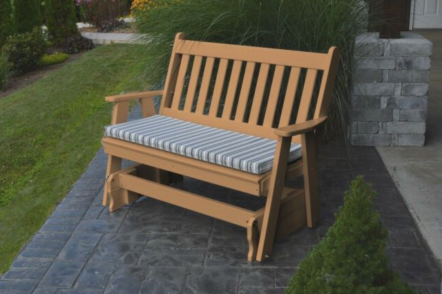 Recent Traditional Glider Benches Pertaining To *poly Furniture Wood* 4 Foot Traditional English Glider *cedar Color* 4 Ft (View 7 of 20)