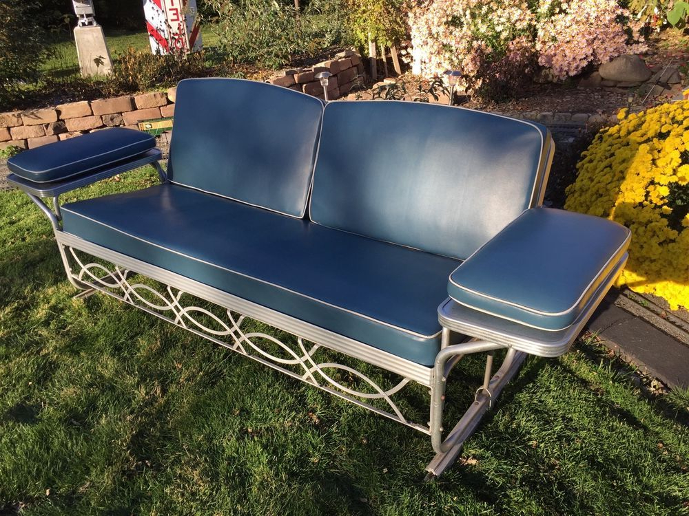 Recent Vintage Aluminum Porch Glider Swing – Bed With Blue Cushions With Regard To Aluminum Glider Benches With Cushion (View 20 of 20)
