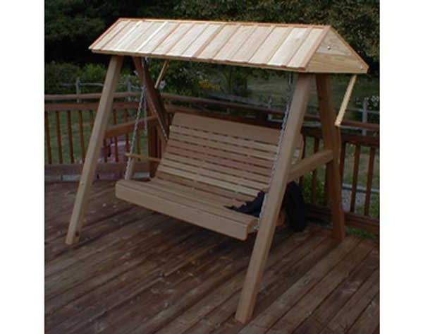 Red Cedar Wooden Canopy For Porch Swing With Trendy Canopy Patio Porch Swing With Stand (Gallery 13 of 20)