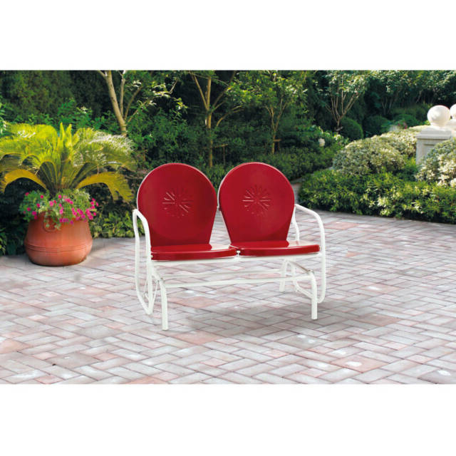 Retro Metal Glider Garden Seating Outdoor Furniture Yard Patio Red Chair Seats 2 In Best And Newest Outdoor Retro Metal Double Glider Benches (View 10 of 20)