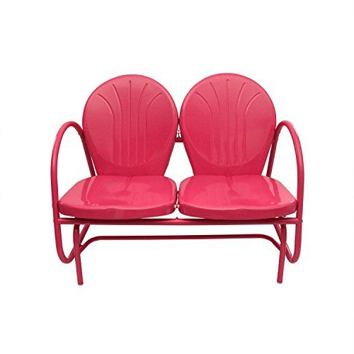 Rich Pacific Pink Retro Metal Tulip Double Glider (View 4 of 20)