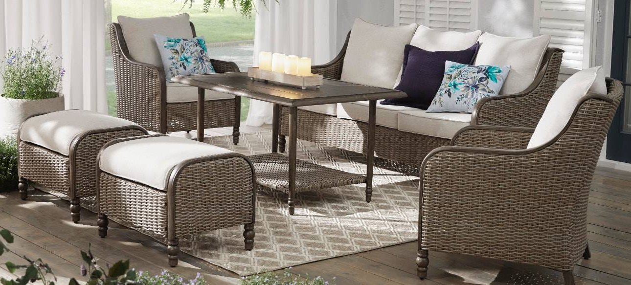 Rocking Benches With Cushions With Regard To Well Liked Furniture Architectures Patio Arrivals Mob Home Depot (Gallery 10 of 20)