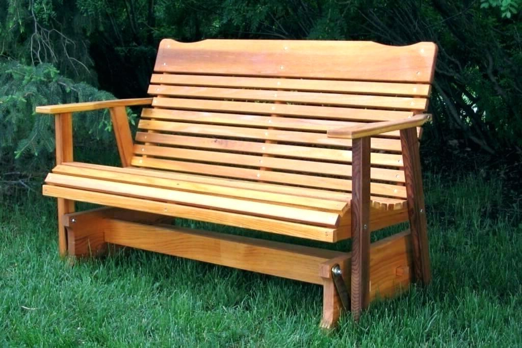 Rocking Glider Benches Within Current Wooden Glider Bench Patio Ch Plans With Storage For Ideas (View 11 of 20)