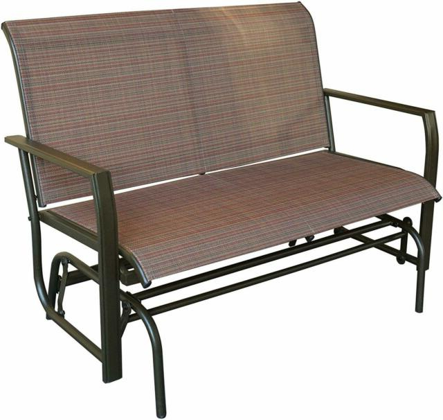 Rocking Love Seats Glider Swing Benches With Sturdy Frame For Trendy Love Seat Swing Bench For Patio Textile And Sturdy Frame Glider Rocker Tan  Brown (View 14 of 20)