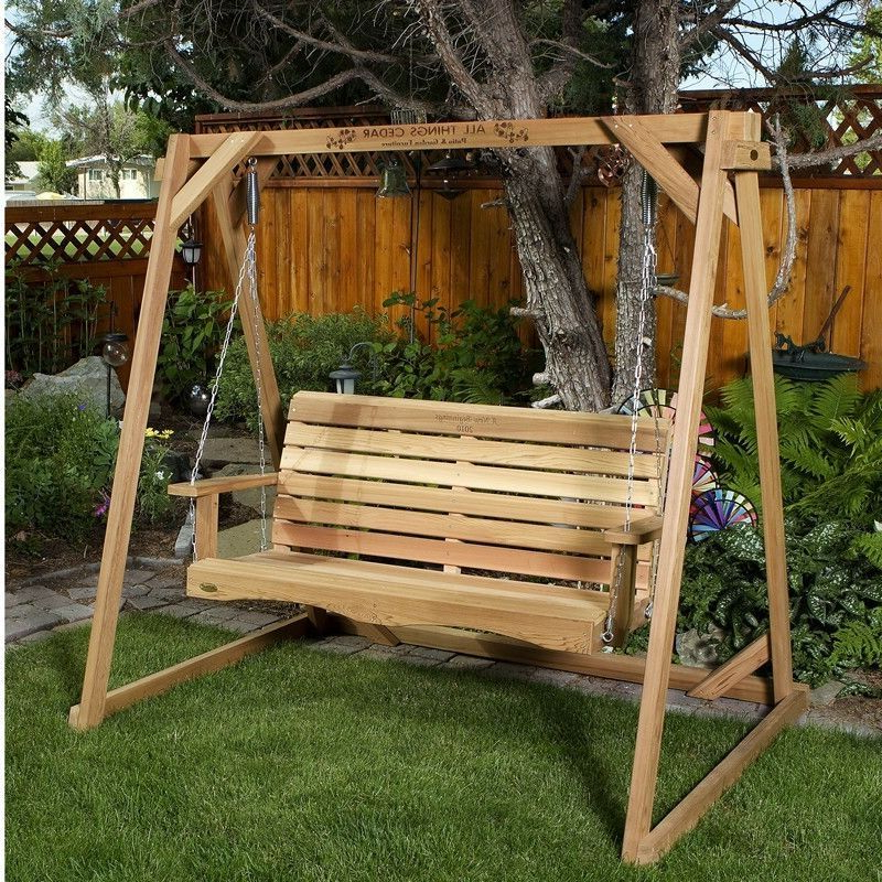 Rosean Porch Swings Within Recent Red Cedar A Frame Stand & 5Ft (View 11 of 20)