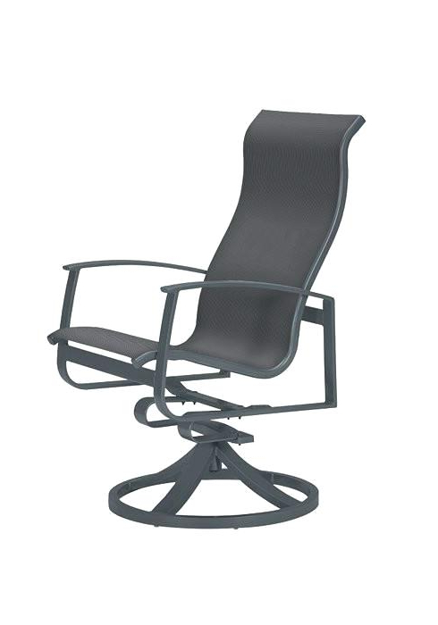 Sling High Back Swivel Chairs Throughout Newest Sling Back Swivel Rocker Patio Chairs Aluminum Dining Isle (View 14 of 20)