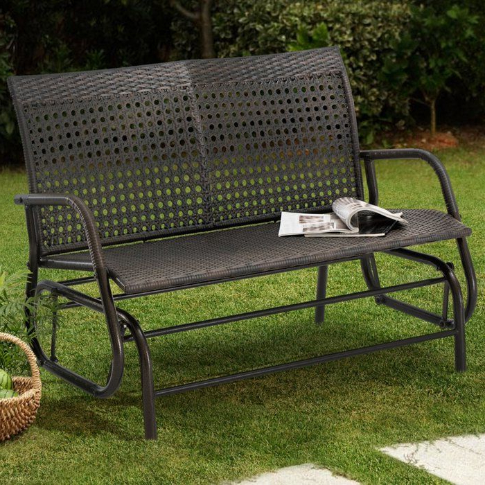 Speckled Glider Benches With Regard To Famous Darby Home Co Appleton Wicker Glider Bench & Reviews (View 2 of 20)