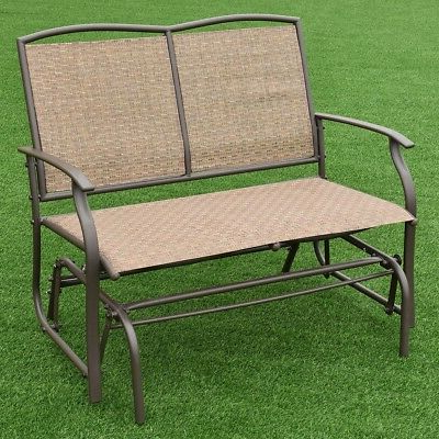 Steel Patio Swing Glider Benches Inside 2019 Brown Steel Patio Glider Rocking Outdoor Bench Porch Swing (Gallery 12 of 20)