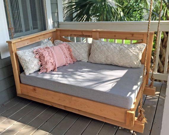 Sunbrella Daybed Custom Cushion – Crib Mattress – Farmhouse Throughout Favorite Deluxe Cushion Sunbrella Porch Swings (View 14 of 20)