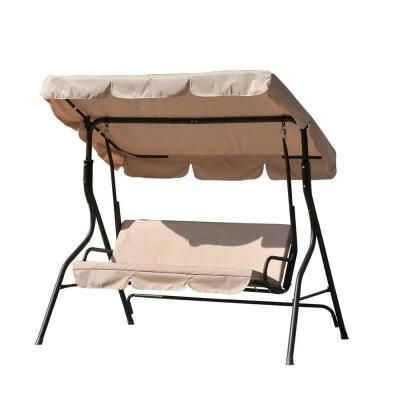 Sunjoy Camo 2 Person Black Metal Porch Swing With Beige Throughout 2019 2 Person Black Steel Outdoor Swings (View 16 of 20)