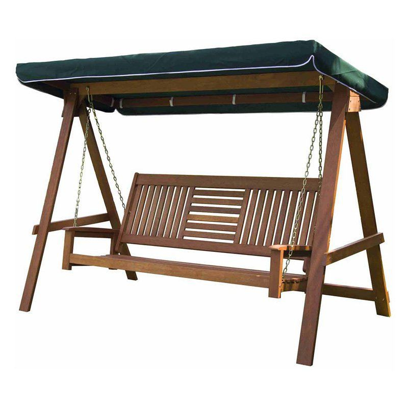 Sunjoy Wood 3 Seater Porch Swing With Canopy – 110205017 With Most Recently Released 3 Seater Swings With Frame And Canopy (View 12 of 20)