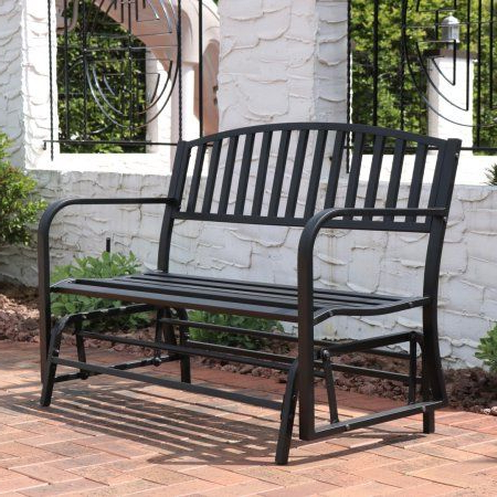 Sunnydaze Outdoor Garden Bench 50 Inch, Metal Glider Patio With Regard To Current Black Steel Patio Swing Glider Benches Powder Coated (View 9 of 20)