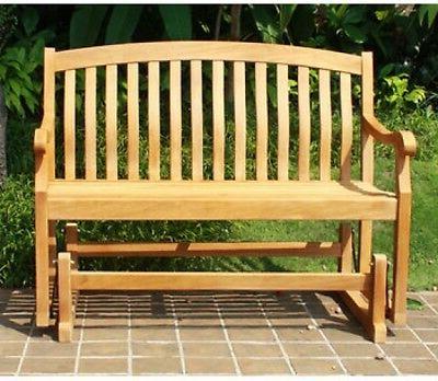 Teak Glider Benches Throughout Fashionable Crestwood Garden 4 Teak Glider Outdoor Patio Bench – Brown (View 7 of 20)