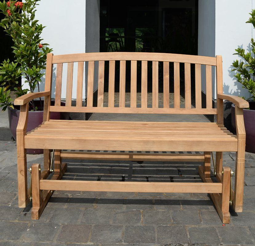 Teak Glider Benches With Widely Used Summerton Teak Glider Bench (View 8 of 20)