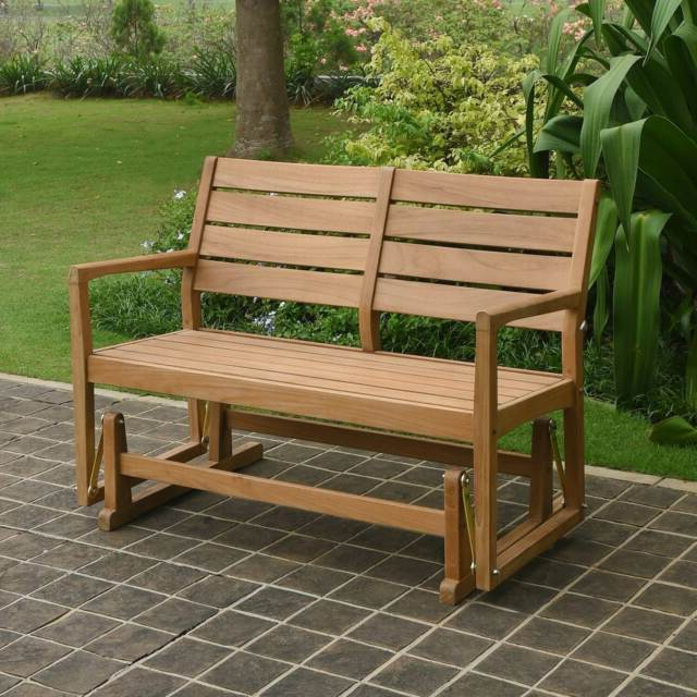 Teak Outdoor Glider Benches For Preferred Cambridge Casual Andrea Teak Glider Bench Tan Single (View 14 of 20)