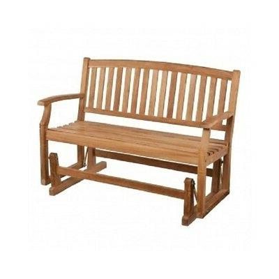 Teak Wooden Glider Bench 4 Ft Solid Wood Outdoor Patio Deck Garden Glider Bench (View 4 of 20)