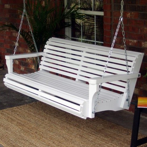 Tmp Outdoor Furniture Contoured Classic White Porch Swing Pertaining To Newest Contoured Classic Porch Swings (View 2 of 20)
