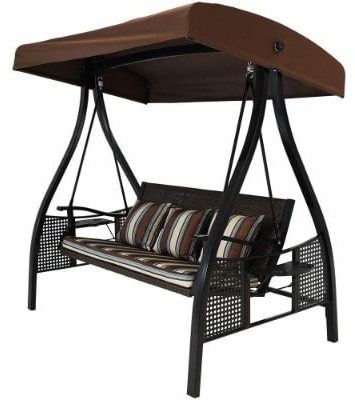 Top 11 Best Patio Swings With Canopy Reviews In 2020 Pertaining To Trendy 3 Person Red With Brown Powder Coated Frame Steel Outdoor Swings (View 7 of 20)