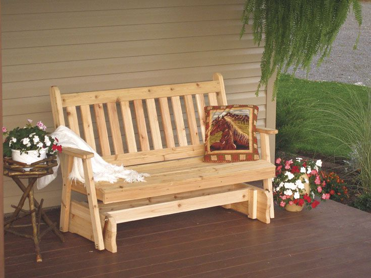 Traditional English Glider Benches With Trendy 5 Foot Western Cedar Traditional English Porch Glider (View 4 of 20)