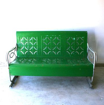 Traditional Glider Benches Intended For 2020 Spring Green Vintage Glider Metal Benchrhapsody Attic (View 5 of 20)