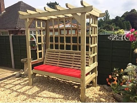 Trellis Arbour With Pergola Roof – Seats 3 For Favorite 3 Seat Pergola Swings (View 13 of 20)