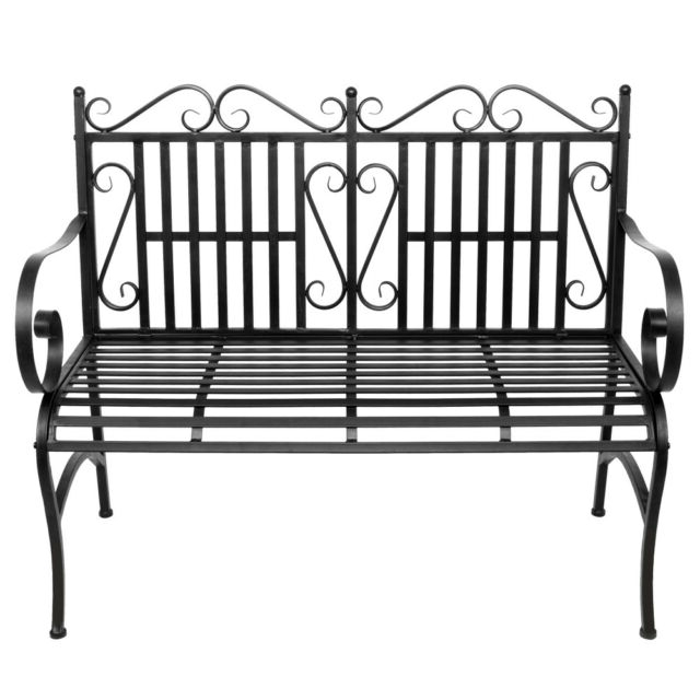 Trendy 2 Person Antique Black Iron Outdoor Swings Inside Garden Bench Metal Outdoor Patio Furniture Deck Chair Back Yard Iron Porch  Seat (View 15 of 20)