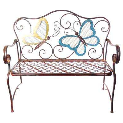 Trendy 2 Person Antique Black Iron Outdoor Swings Inside Metal Colored Butterflies Garden Bench (View 16 of 20)