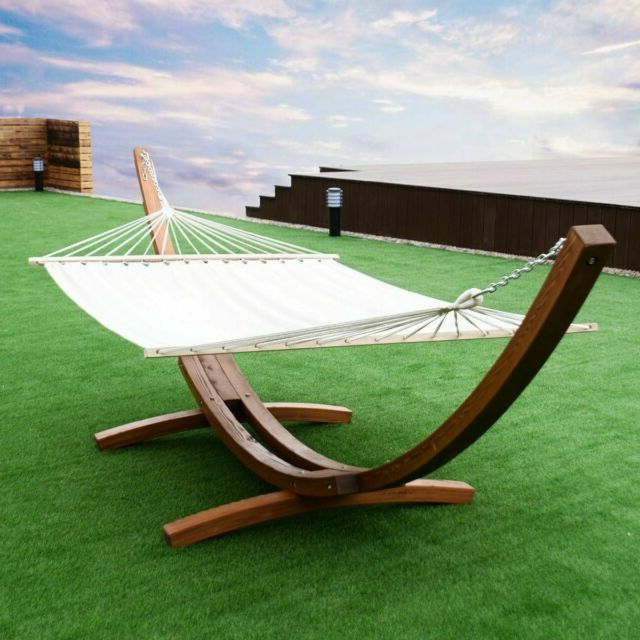 Trendy 2 Person Hanging Quilted Hammock With Stand Wooden Arc Swing Chair Outdoor Set Intended For 2 Person Black Wood Outdoor Swings (View 17 of 20)