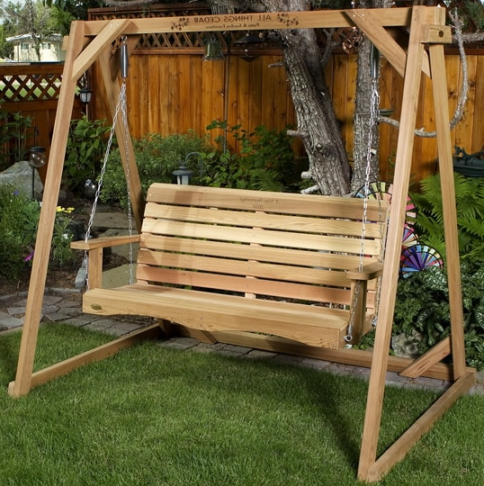 Trendy 3 Person Natural Cedar Wood Outdoor Swings Throughout Cedar Wood Outdoor Furniture – Outdoor Room Ideas (View 17 of 20)