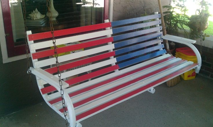 Trendy American Flag Porch Swings In Repainted The Old Porch Swing For Our Patriot Home (View 16 of 20)